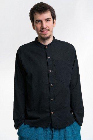Camasa neagra cu nasturi si guler tunica