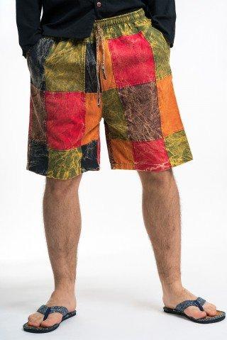 Pantaloni scurti cu patrate multicolore