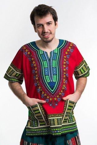 Camasa rosie unisex cu print african