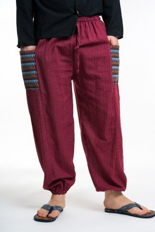 Pantaloni largi visinii cu buzunare etnice