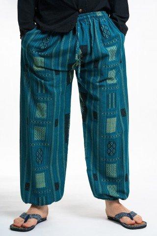 Pantaloni turcoaz cu tesatura geometrica unisex