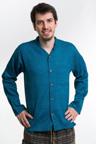 Camasa albastru petrol cu nasturi si guler tunica