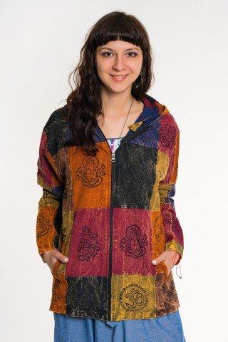 Jacheta patrate colorate cu imrpimeu negru unisex
