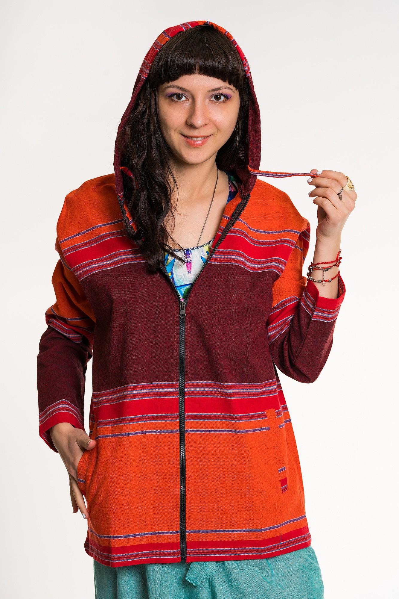 Jacheta rosu portocaliu cu gluga unisex
