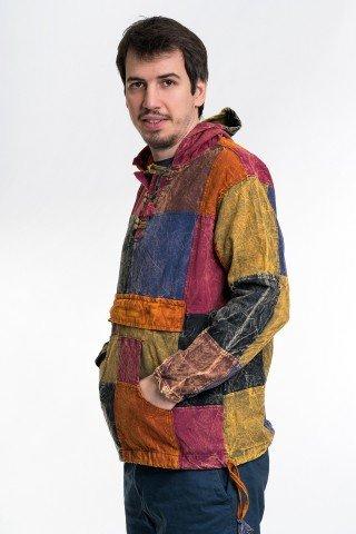 Jacheta tip hanaotac cu patrate multicolore unisex
