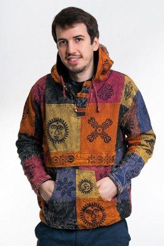 Jacheta tip hanorac cu petice colorate si print negru