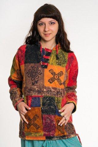 Jacheta tip hanorac fara captuseala cu petice colorate si print negru