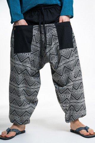 Pantaloni tip salvari negru cu alb print geometric