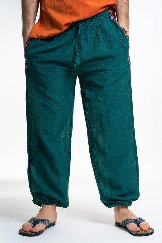 Pantaloni verzi cu buzunare si motive etnice