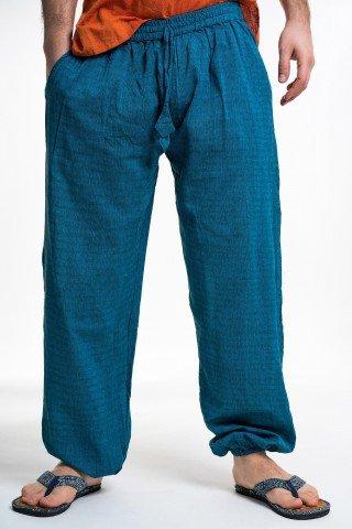 Pantaloni albastru petrol cu elastic la gezne