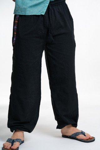 Pantaloni negri cu buzunare si motive