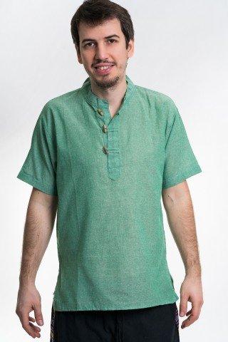 Camasa verde cu maneca scurta si 3 nasturi