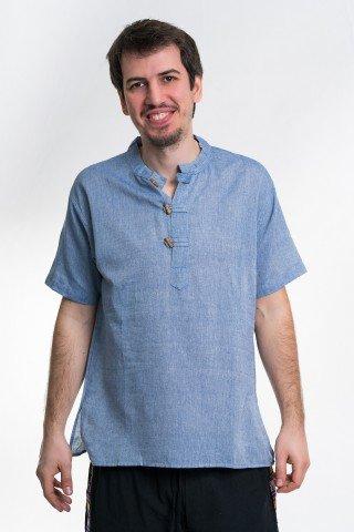 Camasa bleu denim cu maneca scurta