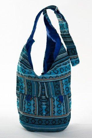 Geanta albastra cu tesatura etnica