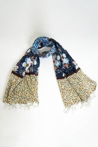 Esarfa bleumarin cu print floral si bordura beige