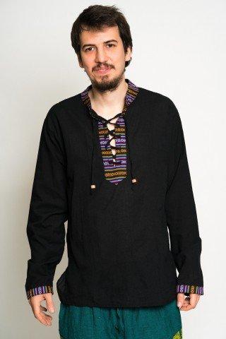 Camasa neagra cu guler tunica ,motive etnice si snur