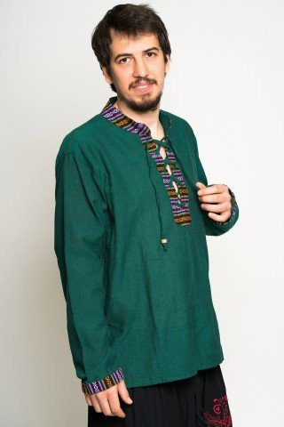 Camasa vedre cu guler tunica , motive etnice si snur