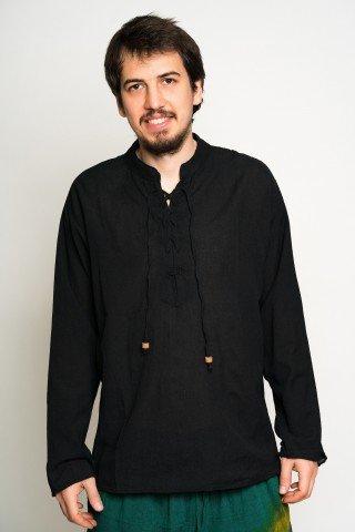 Camasa neagra cu siret in zig zag