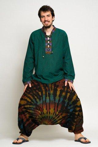 Salvari negri cu model tye-dye multicolor
