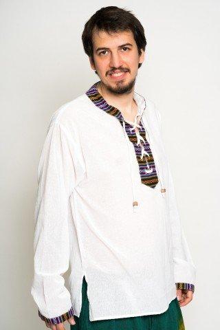 Camasa alba cu guler tunica,motive etnice si snur