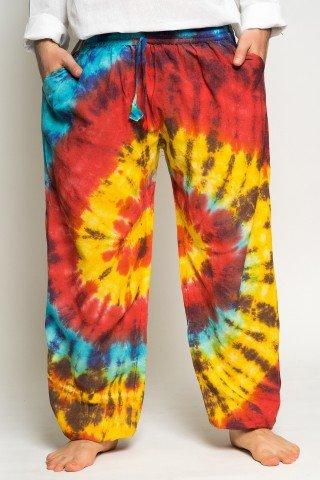 Pantaloni tye-dye multicolor cu elatic la glezna