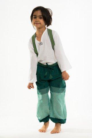 Pantaloni copii verzi cu alb