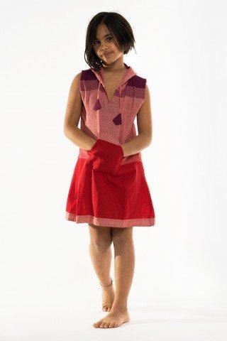 Tunica roz-rosu mov cu gluga de copii