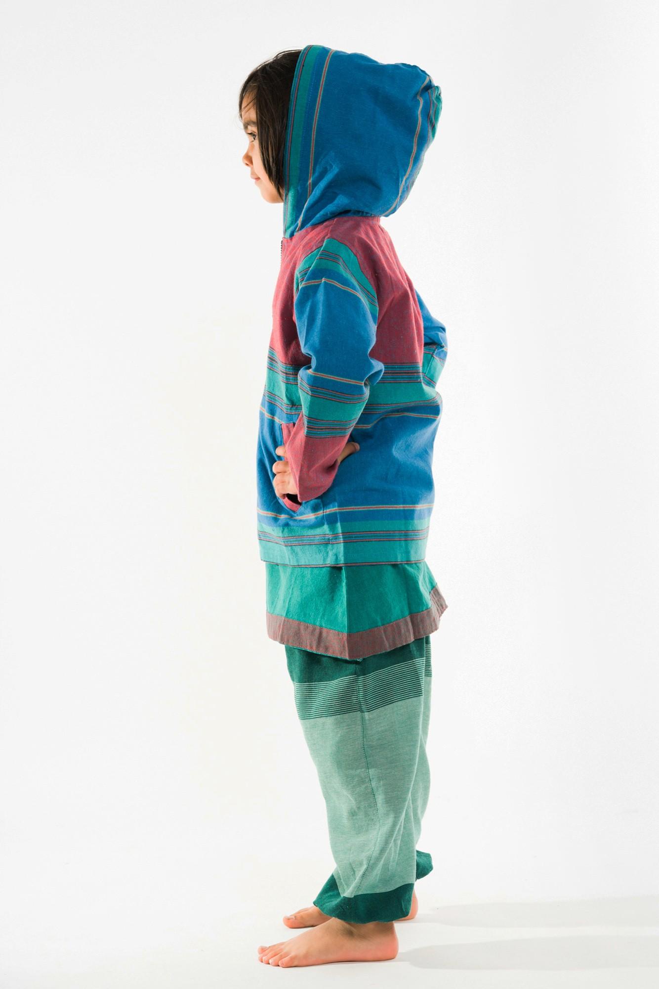 Jacheta copii rosie cu albastru si gluga
