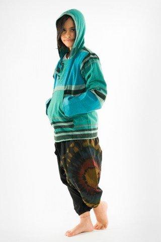 Jacheta copii tip hanorac verde