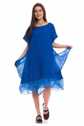 Rochie albastru royal din in cu matase
