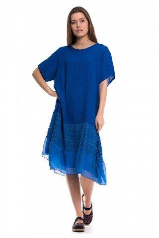 Rochie albastra din in cu insertie din dantela si volan din matase
