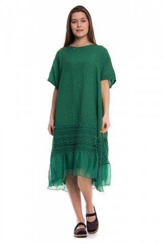 Rochie verde din in cu dantela si volan din matase