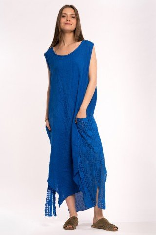 Rochie asimetrica albastra din in si dantela