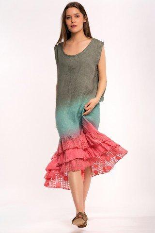 Rochie asimetrica multicolora din in cu volan dantela
