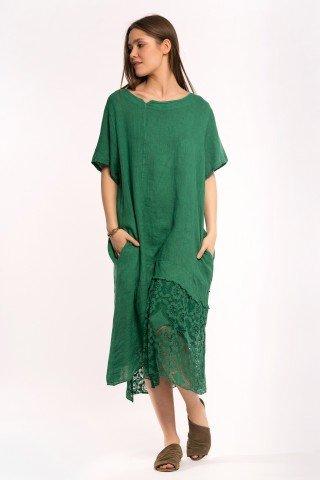 Rochie asimetrica verde din in cu insertie dantela