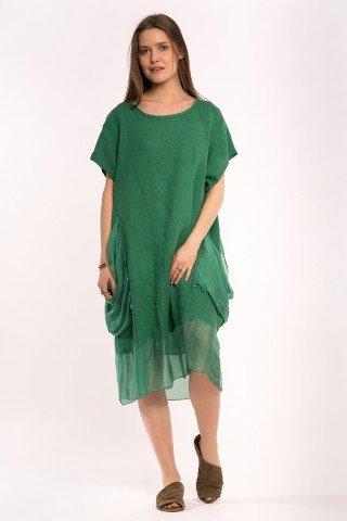 Rochie verde din in cu buzunare si volan matase