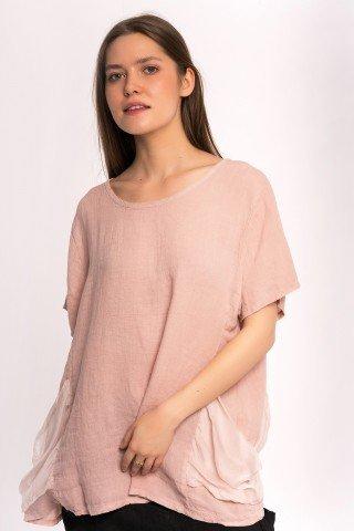 Bluza roz din in cu buzunare din matase