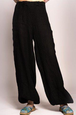 Pantaloni largi din in cu talie si mansete elastice