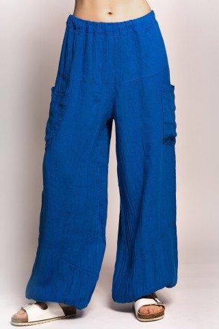Pantaloni albastri din in cu talie elastica