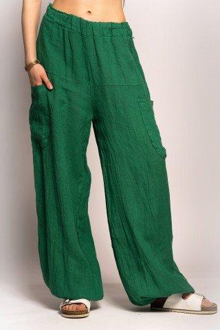 Pantaloni verzi din in cu buzunare exterioare