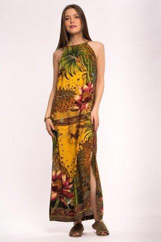 Rochie galbena lunga Jungle Flowers