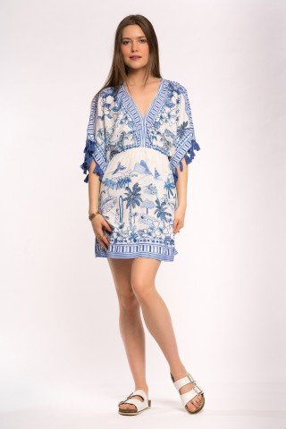 Rochie alba stil poncho Blue Hawaii