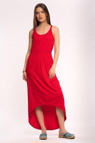 Rochie rosie asimetrica lunga