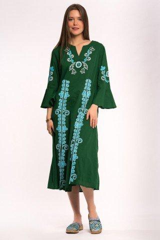 Rochie verde cu broderie florala ciel ampla