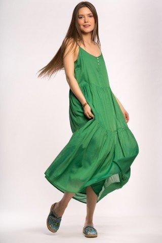 Rochie verde crud cu nasturi si volane