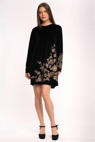 Rochie neagra de catifea brodata cu lurex