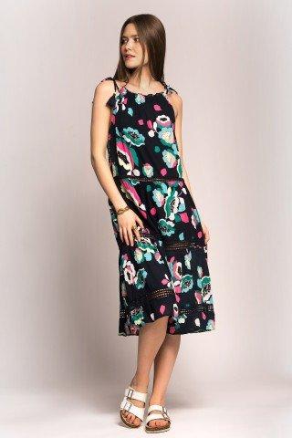Rochie bleumarin cu siret si print floral