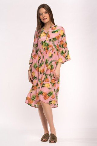 Rochie roz pal de matase Pineapple
