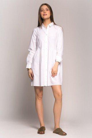 Rochie alba tip camasa cu pliuri fine