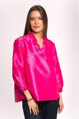Bluza roz din matase cu volan si anchior